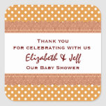Couples Baby Shower Thank You Gold Polka Dot Square Sticker