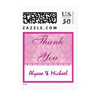 Couples Baby Shower Thank You - Shades of Pink Postage