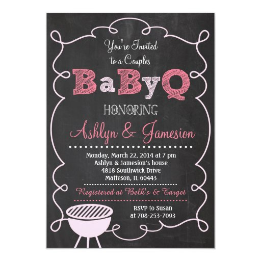 "Couples BabyQ BBQ Baby Shower Invitation 5"" X 7"" Invitation Card"