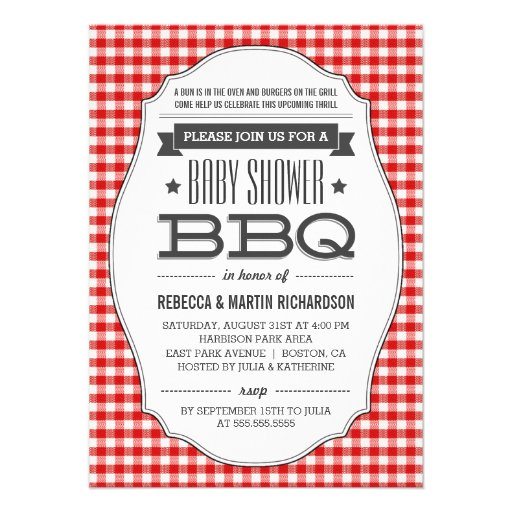 Couples BBQ Baby Shower Invitations Custom Announcements