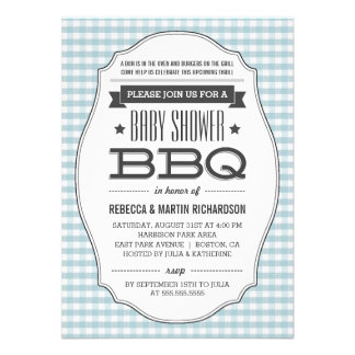 Couples BBQ Boy Baby Shower Invitations Custom Announcements