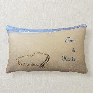 Couples Beach Heart Throw Pillow