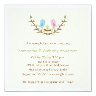 Couples Bird Baby Shower Invitation Gender Neutral