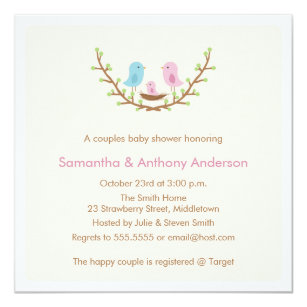 Bird baby shower invitations announcements zazzle couples bird baby shower invitation girl filmwisefo Image collections