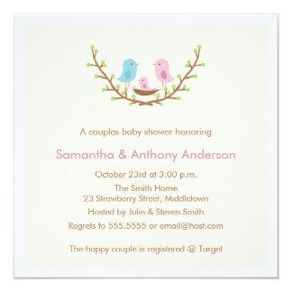 Couples Bird Baby Shower Invitation - Girl