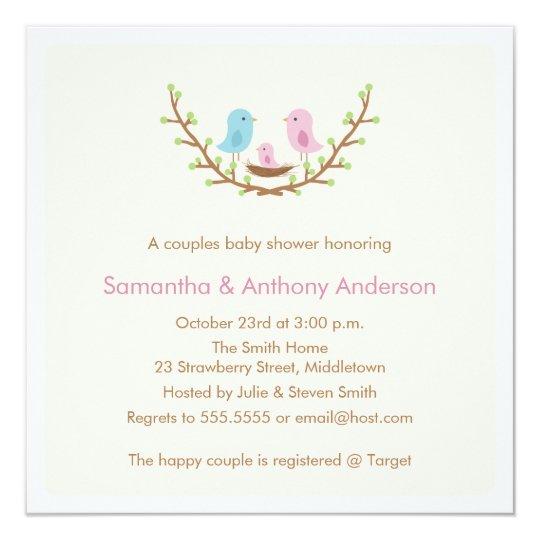 Couples bird baby shower invitation girl zazzle couples bird baby shower invitation girl filmwisefo