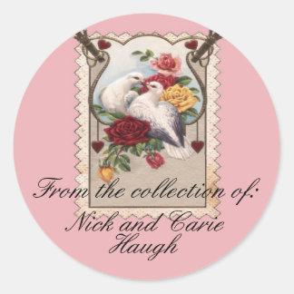 Couples Bookplate Classic Round Sticker