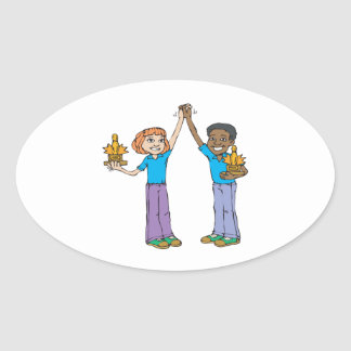 Couples Bowling Champions Oval Sticker