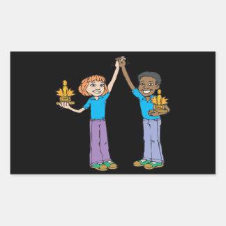 Couples Bowling Champions Rectangular Sticker
