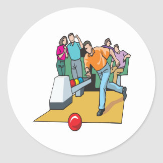 Couples Bowling Classic Round Sticker