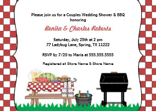 couples bridal or wedding shower bbq invite