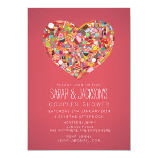 Couples Bridal Shower Foodies Heart Party Invite