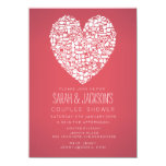 """Couples Bridal Shower Foodies Heart Party Invite 4.5"""" X 6.25"""" Invitation Card"""