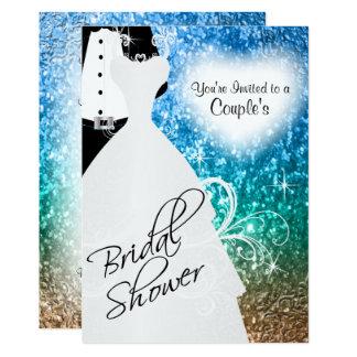 Couple's Bridal Shower in an Elegant Beach Glitter Card