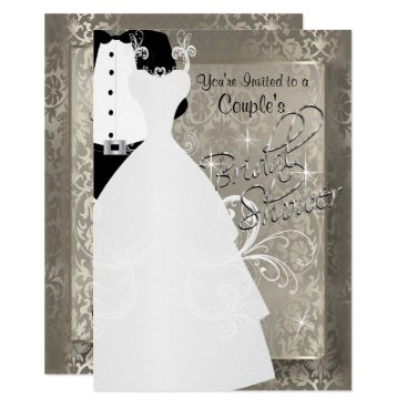 Bride Themed Couple's Bridal Shower in Antique Damask Silver Card