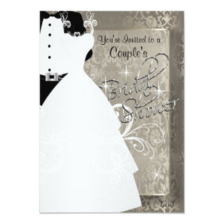 Couple's Bridal Shower in Antique Damask Silver Card
