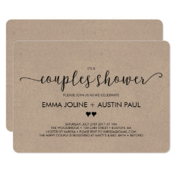 Couples Bridal Shower Invitation - Kraft