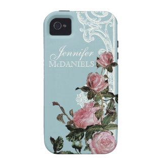 Couples Bridal Shower Invite, Trellis Rose Vintage iPhone 4 Cases