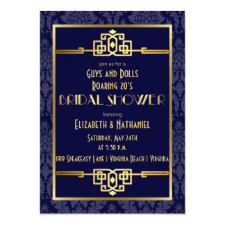 Couples' Bridal Shower Roaring 20s Art Deco | Blue Card
