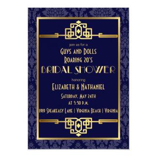 Couples' Bridal Shower Roaring 20s Art Deco | Blue Card