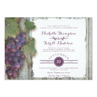 Couples Bridal Shower Vineyard Wine Grapes Theme Card