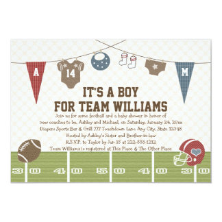 couples coed football baby shower invitations