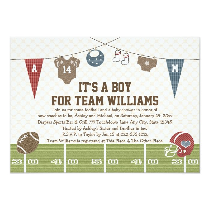 couples co ed football baby shower invitations zazzle