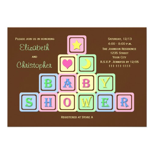 Personalized baby blocks invitations custominvitations4u couples coed baby shower invitation baby blocks filmwisefo