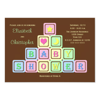 Couples Coed Baby Shower Invitation -- Baby Blocks Custom Invite
