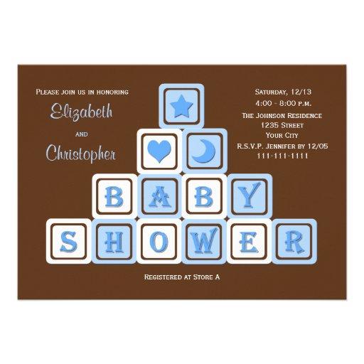 Couples Coed Baby Shower Invitation -- Blue Blocks Invitation