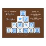 "Couples Coed Baby Shower Invitation -- Blue Blocks 5"" X 7"" Invitation Card"