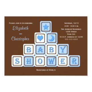 Couples Coed Baby Shower Invitation Blue Blocks