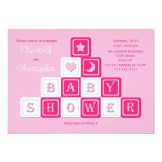 Couples Coed Baby Shower Invitation -- Pink Blocks Invite