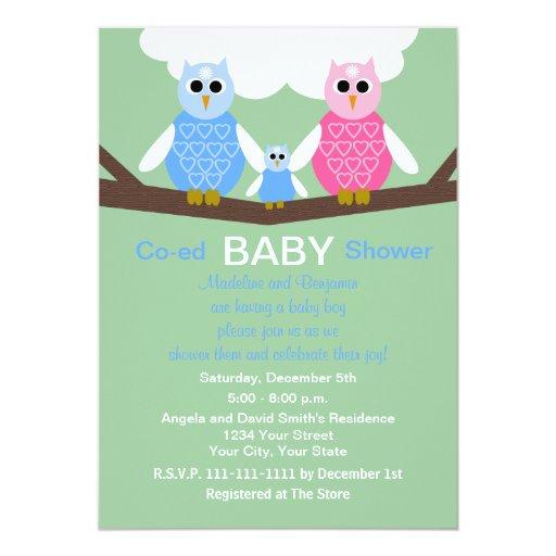 "Couples Coed Boy Baby Shower Invitation -- Owls 5"" X 7"" Invitation Card"