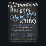"Couples Coed Burger Baby Boy BBQ Shower Invitation<br><div class=""desc"">Burgers, Baby Boy and BBQ BaByQ Shower Invitations with a Book Card Back in chalkboard are editable. The top blue fonts are not changeable but the rest is. The back is an editable book card for your guests to bring a book for baby or leave it blank. These are perfect...</div>"