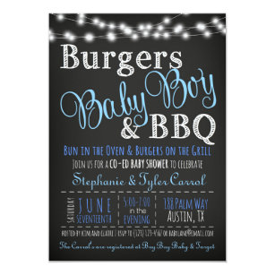 Bbq baby shower invitations announcements zazzle couples coed burger baby boy bbq shower invitation filmwisefo