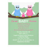 Couples Coed Girl Baby Shower Invitation -- Owls Custom Announcement
