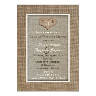 Couples Coed Wedding Shower Invitation -- Burlap