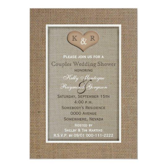couples coed wedding shower invitation burlap zazzlecom