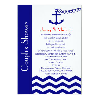 Couples Coed Wedding Shower Invitations Navy Blue