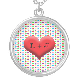 Couples Colorful Heart Silver Plated Necklace