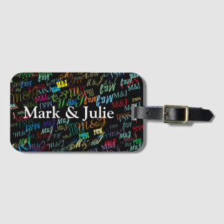 couples colorful initials custom bag tag