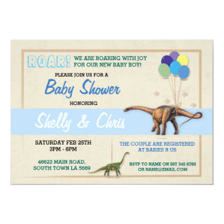 Couples Dinosaur Baby Shower Its a Boy Blue Invite