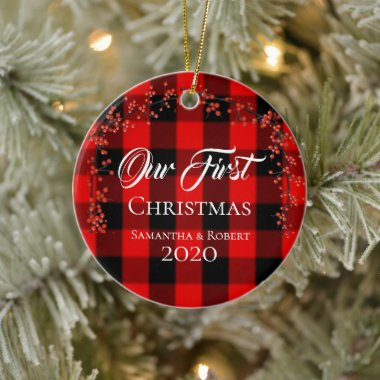 Couples First Christmas Name Date Red Plaid Ceramic Ornament