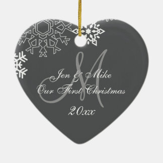 Couple's First Christmas Ornament | Monogram Gray