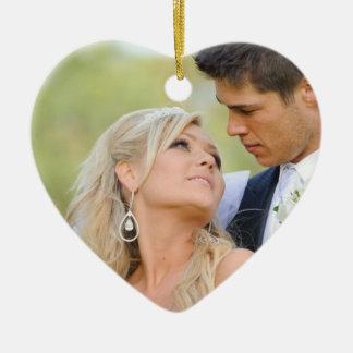 Couple's First Christmas Ornament | Monogram Photo