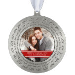 Couples First Christmas Ornament Red White Round Ornament
