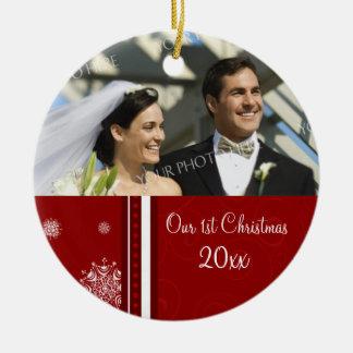 Couple's First Christmas Photo Christmas Ornament