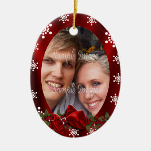 couples first christmas photo personalize ceramic ornament - Couples First Christmas Ornament