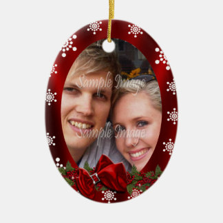 Couples first christmas photo PERSONALIZE Ceramic Ornament